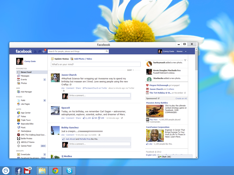 A Facebook desktop app for your computer.