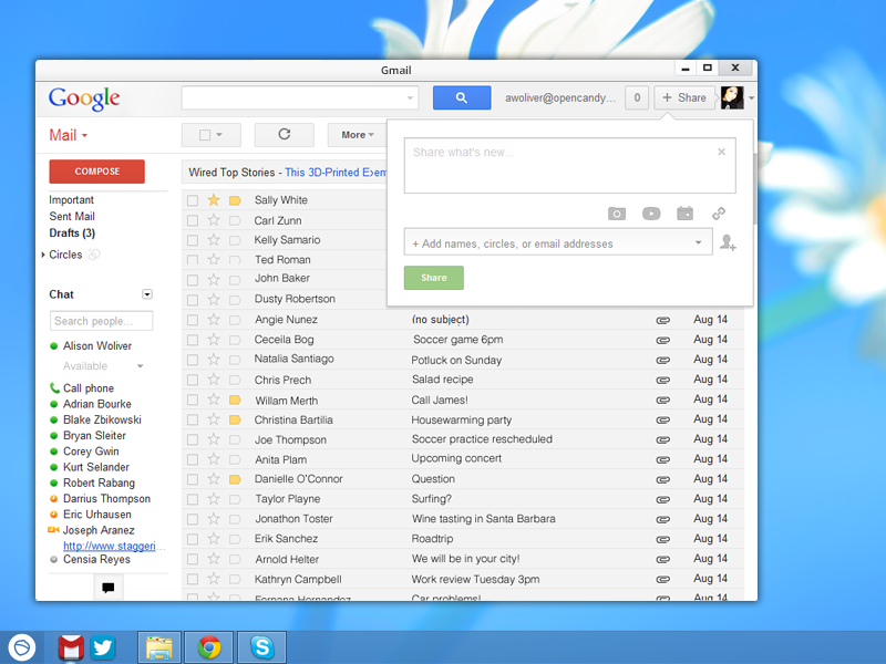 Click to view Gmail App for Pokki screenshots