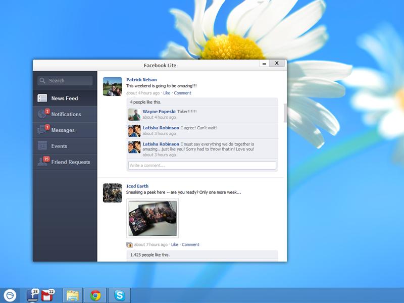 Facebook Lite for Pokki